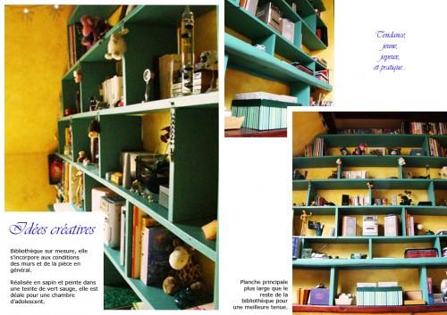 bibliothèque, livres, book, lire, ranger, ordonner, bois, peinture, vert, sapin, chambre