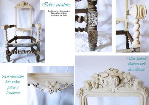 fauteuil, restauration, bois, sculpture, peinture, patine, décoration,ancien, meuble