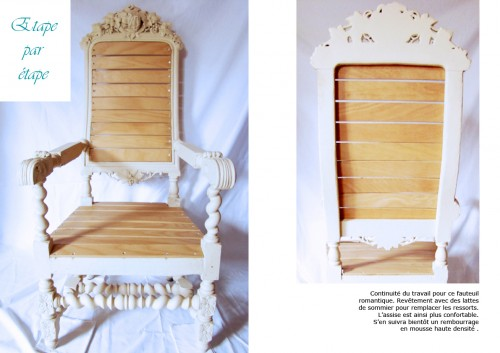 fauteuil, bois, sculpture, sommier, ressort, restauration, rénovation, décoration